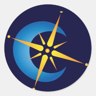 Luna y estrella pegatina redonda