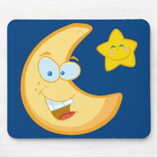 Luna y estrella sonriente tapete de raton