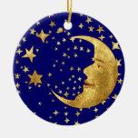 Luna y estrellas adorno navideño redondo de cerámica