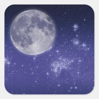 Luna y estrellas brillantes calcomanías cuadradas personalizadas