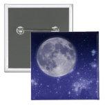 Luna y estrellas brillantes pins