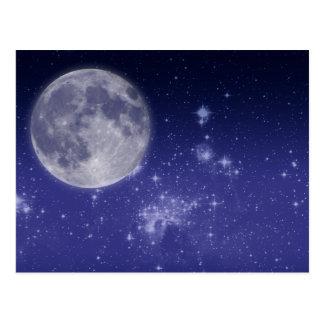 Luna y estrellas brillantes tarjeta postal