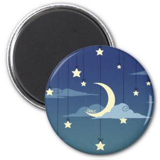 Luna y estrellas calamitosas imán redondo 5 cm