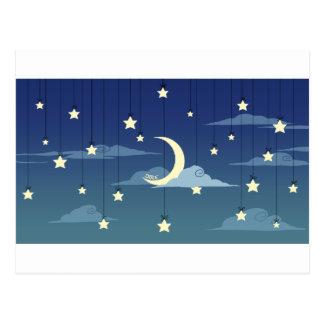 Luna y estrellas calamitosas postal