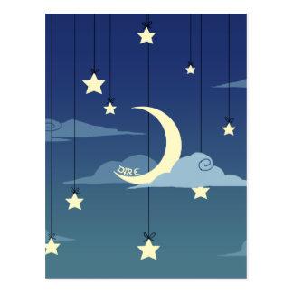 Luna y estrellas calamitosas tarjetas postales