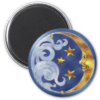 Luna y estrellas celestiales imán redondo 5 cm