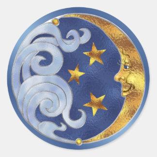 Luna y estrellas celestiales pegatina redonda