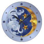 Luna y estrellas celestiales reloj de pared