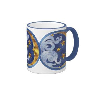 Luna y estrellas celestiales taza de café