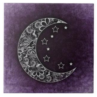 Luna y estrellas crecientes florales de oro en azulejo cuadrado grande