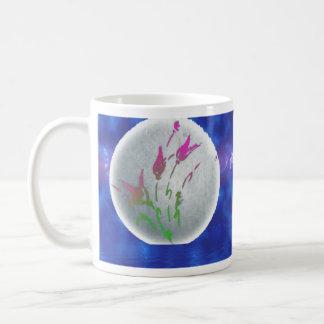 Luna y estrellas de la flor taza de café