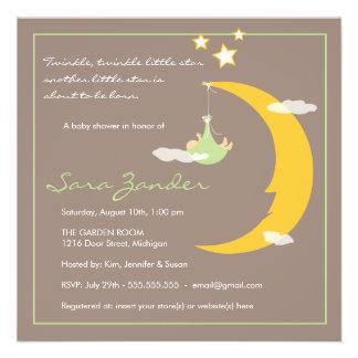 Luna y estrellas de la invitación de la fiesta de