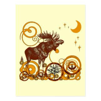 Luna y estrellas de los alces del vintage tarjeta postal