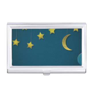 Luna y estrellas de papel cajas de tarjetas de presentación