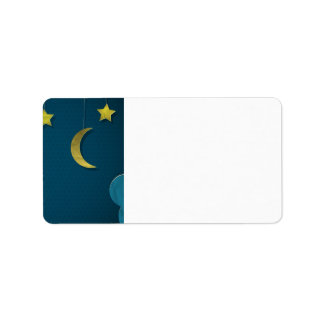Luna y estrellas de papel etiqueta de dirección