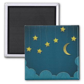 Luna y estrellas de papel imán cuadrado
