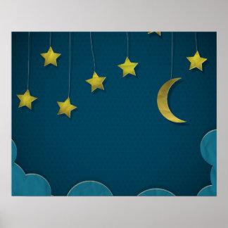 Luna y estrellas de papel impresiones