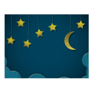 Luna y estrellas de papel postales