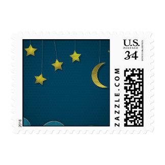 Luna y estrellas de papel sello