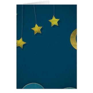 Luna y estrellas de papel tarjeta de felicitación