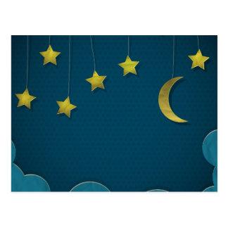 Luna y estrellas de papel tarjeta postal