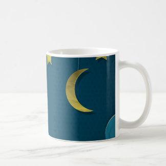 Luna y estrellas de papel taza básica blanca