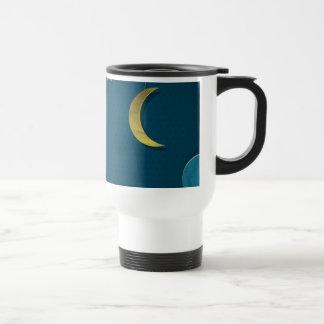 Luna y estrellas de papel taza de viaje de acero inoxidable