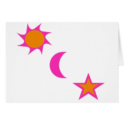 Luna y estrellas de Sun Felicitación