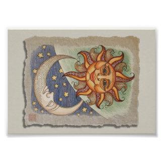 Luna y estrellas de Sun Fotografía