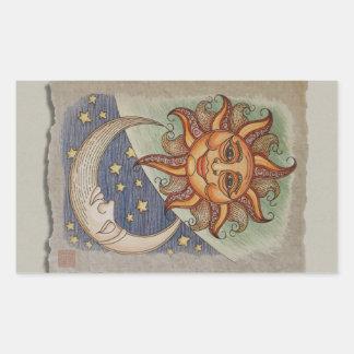Luna y estrellas de Sun Pegatina Rectangular