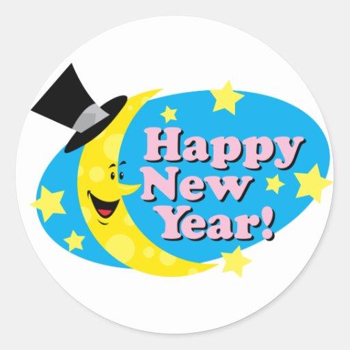 Luna y estrellas del Año Nuevo Etiqueta Redonda