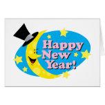 Luna y estrellas del Año Nuevo Felicitacion