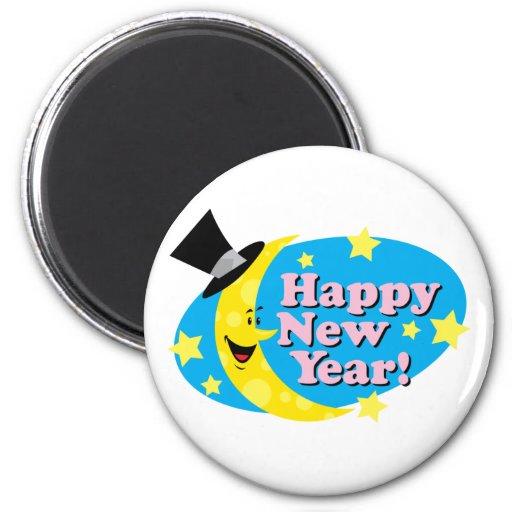 Luna y estrellas del Año Nuevo Imanes Para Frigoríficos