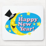 Luna y estrellas del Año Nuevo Alfombrillas De Ratón