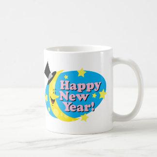 Luna y estrellas del Año Nuevo Taza De Café