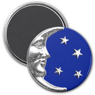 Luna y estrellas del art déco - azul y plata de imán redondo 7 cm