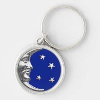 Luna y estrellas del art déco - azul y plata de llavero redondo plateado
