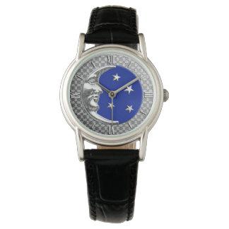 Luna y estrellas del art déco - azul y plata de reloj