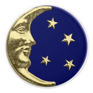 Luna y estrellas del art déco - azules marinos y pomo de cerámica