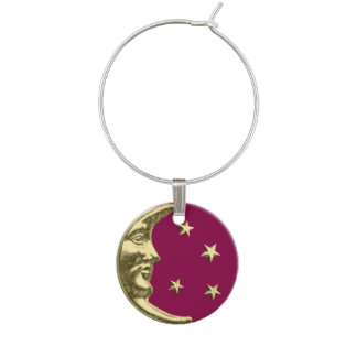 Luna y estrellas del art déco - Borgoña y oro Identificador De Copa