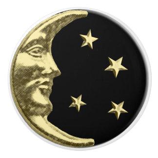 Luna y estrellas del art déco - negro y oro pomo de cerámica