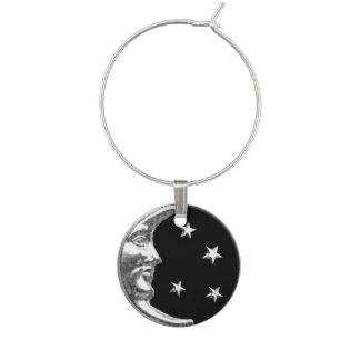 Luna y estrellas del art déco - negro y plata identificadores de copas