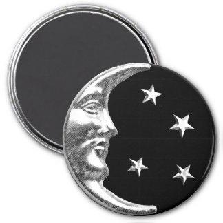 Luna y estrellas del art déco - negro y plata imán redondo 7 cm