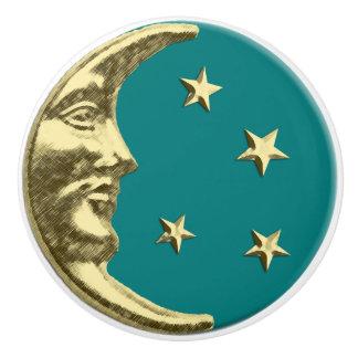 Luna y estrellas del art déco - trullo y oro pomo de cerámica