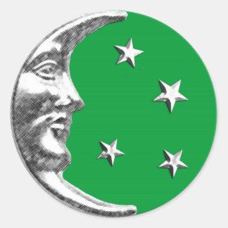 Luna y estrellas del art déco - verde y plata de pegatina redonda