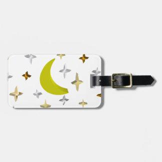 Luna y estrellas etiqueta de equipaje