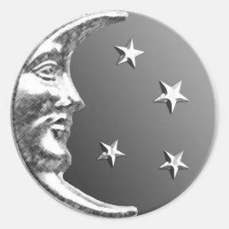 Luna y estrellas - gris/gris y plata del art déco pegatina redonda