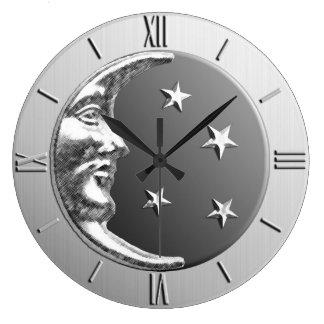 Luna y estrellas - gris/gris y plata del art déco reloj redondo grande
