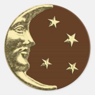 Luna y estrellas - marrones y oro del art déco pegatina redonda