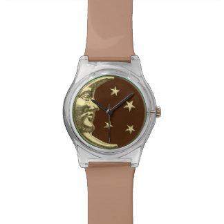 Luna y estrellas - marrones y oro del art déco relojes